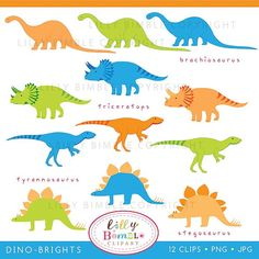 DINOSAURS clipart for boys birthdays invites cards por LillyBimble, $5.00 Althought T Rex doesn't really looks as a TRex