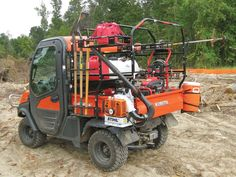 We've seen all types of bolt on attachments, but we've never seen anything quite like the Kubota RTV RAC system developed by Seizmik. Types Of Bolts, Lawn Care Business Cards, Volkswagen, Utv Accessories, Kubota Tractors, Tractor Attachments, Polaris Ranger, Canopy Design, Mini Trucks