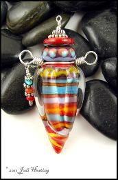 Hand - torched lampwork vessel, perfume bottle