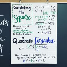 Algebra Anchor Chart💚💙 Completing the Square and the Quadratic Formula starts next week so this chart is going up today! Nothing fancy- simple and to the… Algebra Activities, Maths Algebra, Calculus, Math Charts, Math Anchor Charts, Completing The Square, High School Algebra, Math Teacher, Math Classroom