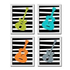 Guitar Silhouette Shape Boy Print Artwork Set of 4 Prints Wall Decor Art Nursery Music Picture Matching Green Black Aqua Orange Grey. $38.50, via Etsy.