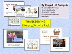This is an literacy/activity pack for Thanksgiving. This pack meant for the more linguistically challenged students and is perfect for speech/OT or speech/special ed collaboration. This is nice for integrating literacy and hand-on activities. You are purchasing two interactive books and a craftivity with an assortment of visual supports for all.