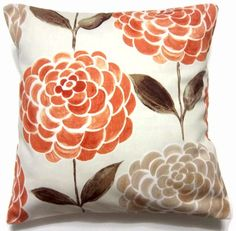 Orange, tangerine, brown, taupe pillow covers. Lynne's This and That on etsy. $30
