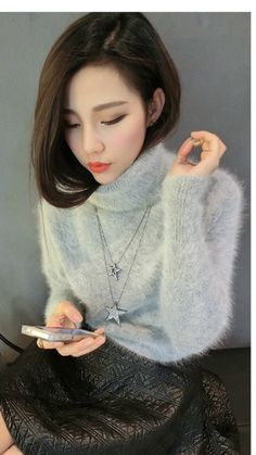 Many pictures of soft and fuzzy angora and mohair men's and women's sweaters including vintage and retro. Angora Sweater, Thick Sweaters, Tumblr, Asia Girl, Knitwear, Women Wear, Sexy, Asian, Pullover