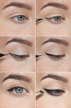 Eyeliner-tutorial: pisteet avuksi rajauksen tekoon: