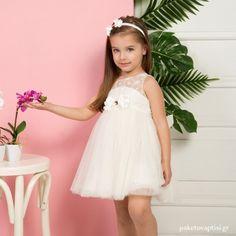 Βαπτιστικό Φόρεμα Ιβουάρ Mi Chiamo K4293E Girls Dresses, Flower Girl Dresses, Christening, Girl Outfits, Wedding Dresses, Clothes, Fashion, Dresses Of Girls, Baby Clothes Girl