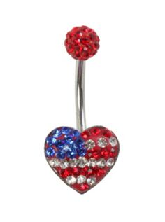 316L surgical steel navel barbell with an Americana bling heart design.