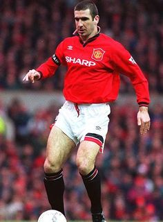 Eric Cantona of Man Utd in Good Soccer Players, Football Players, Leeds United, Manchester United, Man Utd Crest, Eric Cantona, Auxerre, Sir Alex Ferguson, Soccer World
