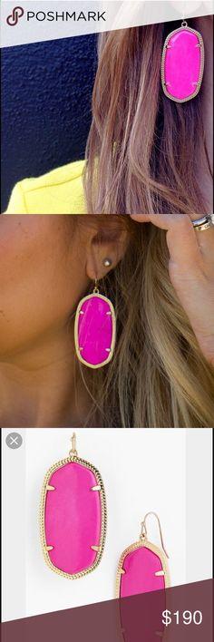 Rare*DISCONTINUED* Kendra Scott Danielle earrings Kendra Scott Danielle earrings in neon pink Kendra Scott Jewelry Earrings
