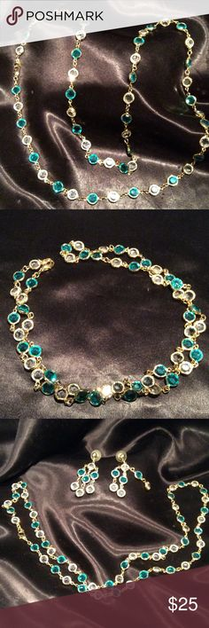 """Austrian crystal necklace set Gorgeous gold tone chain offset by turquoise and clear Austrian crystals 36"""" necklace may be worn as a single strand, double and looks sensational worn as a choker. Set includes stunning pierced earrings having 3 strands crystals a 2"""" length and a bracelet measuring 7 1/2"""" excellent condition. Jewelry Necklaces"""