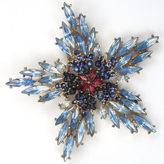 Trifari 'Alfred Philippe' Sapphires Rubies and Blue Topaz Chatons Star Flower Pin