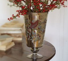 Decoupage Mercury Glass Vase I love mixing these kinds of old looking mercury glass pieces with the rustic decor. It brightens up all of the earthy colors of the rustic decorations. Knock Off Decor, Colorful Interior Design, Modern Outdoor Furniture, Mercury Glass, Christmas Decorations, Holiday Decorating, Pottery Barn, Rustic Decor, Glass Vase
