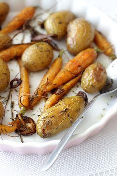 Papillette: Pommes de terre et carottes rôties au four