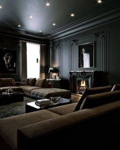 Dream House Interior, Luxury Homes Dream Houses, Dream Home Design, Living Room Interior, Dark Living Rooms, Black Interior Design, Contemporary Interior, Contemporary Style, Dark Interiors