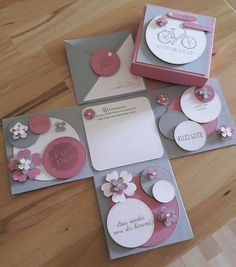 Explosionsbox zum Abschied mit Stampin up naissance part naissance bebe faire part felicitation baby boy clothes girl tips Origami Birthday Card, Birthday Cards, Diy Gift Box, Diy Box, Birthday Explosion Box, Exploding Gift Box, Scrapbook Box, Magic Box, Baby Shower Cards