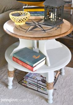 nautical compass side table - Check out these 15 Nautical Furniture Flips - DIY furniture inspiration with coastal flair. How to paint furniture for nautical and coastal home decor.