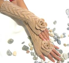 BEIGE LONG Fingerless Gloves with a flower by Rumina on Etsy, $39.00