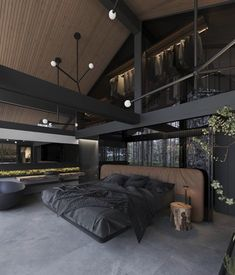 This dark room theme - Architecture and Home Decor - Buildings - Bedrooms - Bathrooms - Kitchen And Living Room Interior Design Decorating Ideas Bedroom Themes, Bedroom Decor, Modern Bedroom, Hotel Bedroom Design, Master Bedroom, Rustic Bedroom Design, Bedroom Setup, Bedroom Styles, Modern Wall