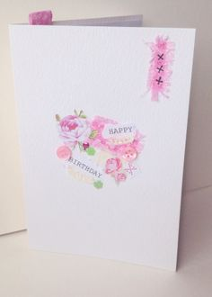 Collage Design Open Greeting Card,Can Be Personalised,Handmade Birthday Card £1.95