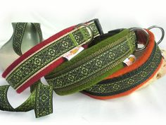 Hundehalsband,Diamante,rot,grün oder orange, mit Filzpolster - Halsband, Geschirr, Leine selbst gestalten - peppetto.de