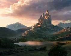 Sunset castle mattepainting., Olga Antonenko on ArtStation at https://www.artstation.com/artwork/KEONy