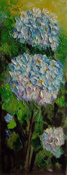 Hydrangea Hortensia Original Oil Painting Textured Garden Flowers Europe Artist #ImpressionismImpasto