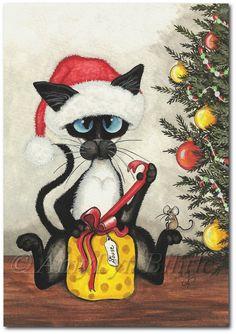 Cadeau de Noël de chat siamois à souris - estampes par Bihrle ck318
