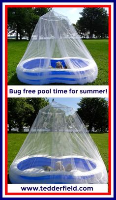 Kids can enjoy summer pool time fun bug free with a Tedderfield Premium Quality King Conical Mosquito Net. Perfect activity for 4th of July and summer barbecues! Buy now on Amazon: https://www.amazon.com/dp/B01MRVZNED Check out our blog post for instructions: http://www.tedderfield.com/kiddie-pool-mosquito-net-for-bug-free-play-time/