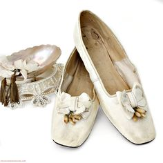 Surest indicator of shoes worn by a bride is the presence of orange blossoms. Disney Wedding Shoes, Blush Wedding Shoes, Vintage Shoes, Vintage Dresses, White Dress Shoes, Wax Flowers, Leather Cover, Leather Bow, French Antiques