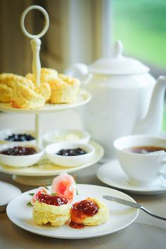 Scones with jam and clotted cream.