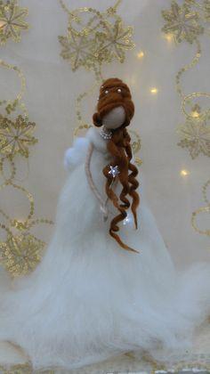 Ángel de la Navidad fieltro aguja justo con luces por Made4uByMagic