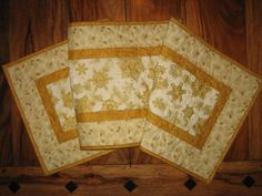 Christmas Tablerunner, White and Gold Snowflakes and Pine Cones, Quilted Tablerunner, Pine Cone Runner, Holiday Table Decor, Reversible by TahoeQuilts on Etsy