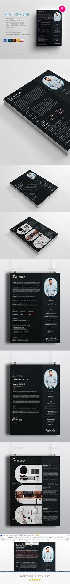 flat resume cover letter resume download here httpsgraphicriver