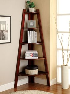 "Ladder Shelf In Cherry Cm-Ac6214Ch $170 LYSS  This five-tier ladder shelf is perfect in any corner of your home. Display books, fi gurines, or anything of value to you and your family for everyone to see. Cherry, white, or black finish.  CHERRY LADDER SHELF [CM-AC6214CH]  29 1/2""W X 19 1/2""D X 63 1/4""H Contemporary Styl 5-tier Ladder Shelf Solid Wood, Wood Veneer & Others* Available in 3 Colors"