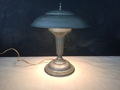 RESERVED for Mark Industrial Mushroom Table Lamp Vintage  Retro -Art Deco - Mid Century - Space Age - Flying Saucer - Sci Fi - Mushroom Lamp by YouBetYourGlassEtc on Etsy https://www.etsy.com/listing/233123396/reserved-for-mark-industrial-mushroom