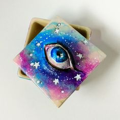 Constellation Square Box - acrylic and paper clay on ceramic trinket box