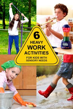 6 Heavy Work Activities for Kids with Sensory Needs Gross Motor Activities, Work Activities, Gross Motor Skills, Sensory Activities, Sensory Tools, Calming Activities, Mindfulness Activities, Sensory Play, Coping Skills