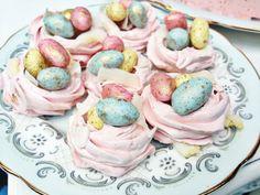 Spring & Easter desserts; mini meringue nests w/ mini chocolate eggs