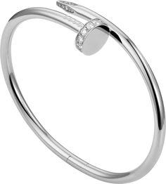 Cartier Juste Un Clou Diamond Rose Gold Bangle Cartier Nail Bracelet, Cartier Earrings, Diamond Bracelets, Gold Bangles, Silver Bracelets, Gold Gold, White Gold Diamonds, Gold Nail, Bracelet Juste Un Clou