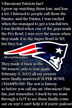 New England Patriots explanation of an old school fan. Patriots Team, New England Patriots Football, Best Football Team, Football Memes, Football Season, Football Rooms, New England Patriots Merchandise, Go Pats, Frases