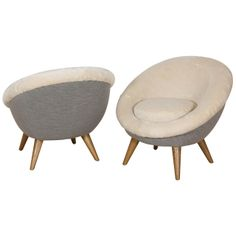 """Jean Royere Pair of """"Oeuf"""" Chairs 