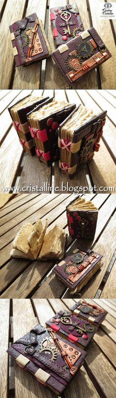 Petit livre en pâte polymère et feuille de papier du Népal cousues sur cuir. Créations-cristalline / S. Arzalier www.cristalline.blogspot.com