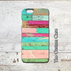 Reclaimed Wood Iphone Case, Pink and Mint Case, Distressed Turquoise Wood Case, Iphone 4/5/5c/6/6+6s, Samsung Galaxy S3/S4/S5/S6/6edge/+