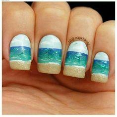 28 Colorful Nail Art Designs That Scream Summer - Beach Nails Beach Nail Art, Beach Nail Designs, Beach Nails, Cute Nail Designs, Beach Art, Ocean Beach, Summer Beach, Sand Nails, Summer Nail Art