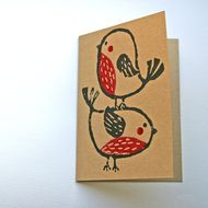 Pack of 4 robin Christmas cards, recycled card, hand printed with lino by Beetroot Press on Folksy