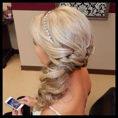 Formal updo for any event, low side pony with curls and jeweled headband, Amber Heater, Gorgeous Salon, Salisbury MD (410)677-4675