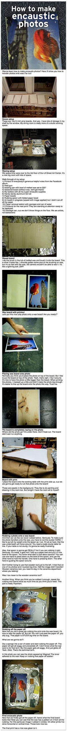 """How to make photos encaustic (wax) Een handige stap voor stap handleiding om een photo op wax you """"drukken"""" .:"""