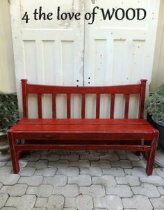 entry way bench red | This amazing red bench originally was a donated headboard and ...