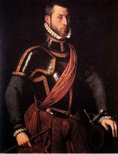 Anthonis Mor van Dashorst: Vespasiano Gonzaga con sus armas, 1558-1559. Óleo sobre tabla, Museo Cívico de Como.