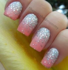 pink nails with silver glitter
